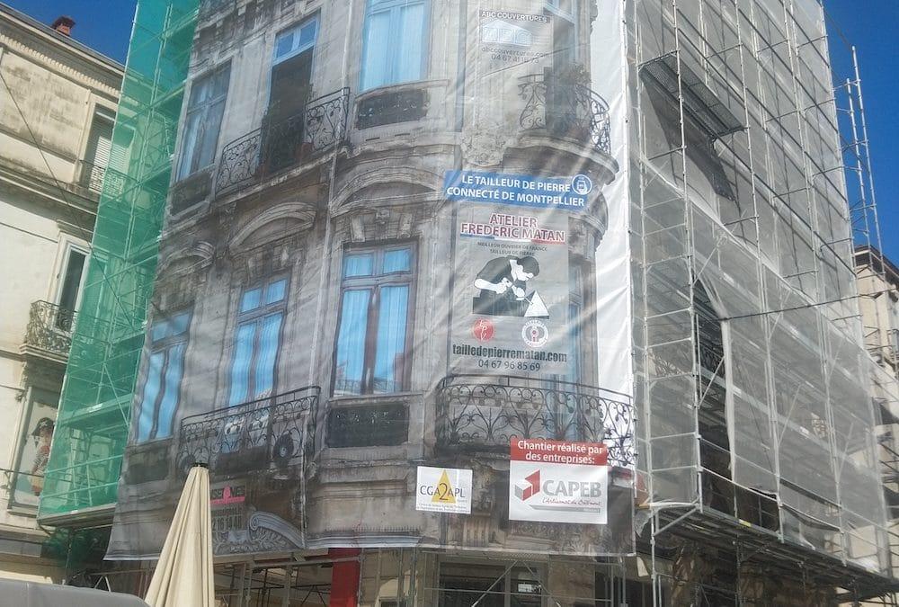 Restauration d'une façade en pierre Haussmannienne à Montpellier