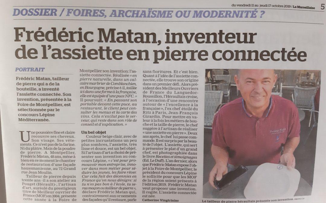 «Frédéric Matan, inventeur de l'assiette en pierre connectée» – Journal La Marseillaise